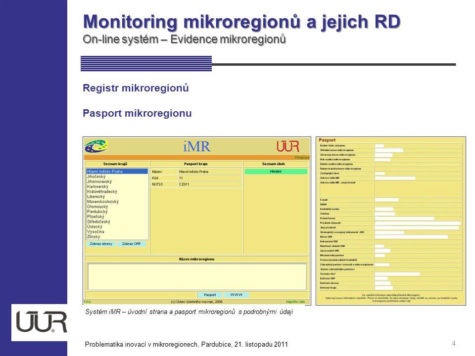 Monitoring mikroregionů a jejich RD On-line systém – Evidence mikroregionů 4 Registr mikroregionů Pasport mikroregionu Systém iMR – úvodní strana a pa