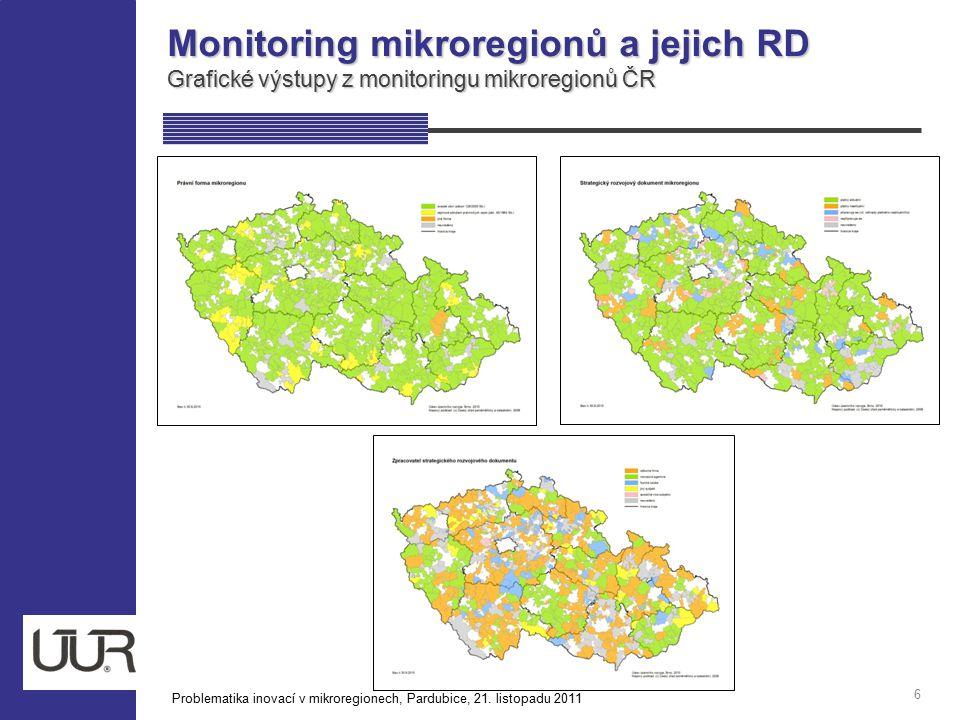 Monitoring mikroregionů a jejich RD Grafické výstupy z monitoringu mikroregionů ČR 6 Problematika inovací v mikroregionech, Pardubice, 21. listopadu 2