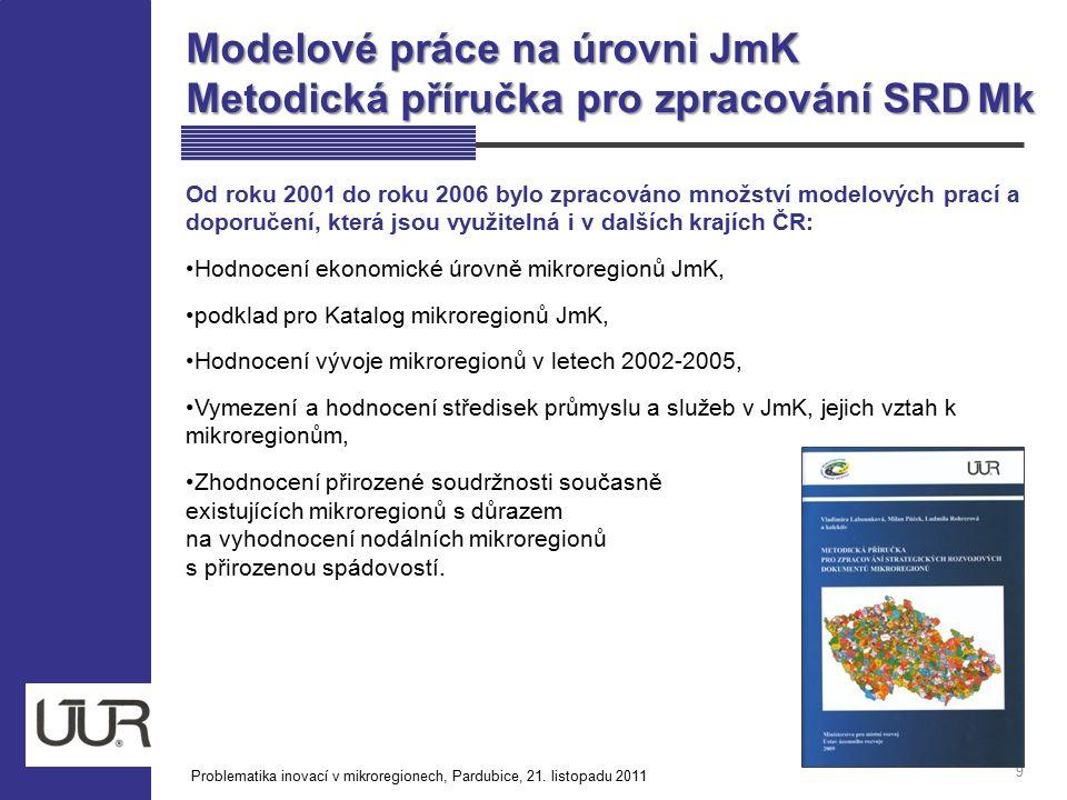Modelové práce na úrovni JmK Metodická příručka pro zpracování SRD Mk 9 Od roku 2001 do roku 2006 bylo zpracováno množství modelových prací a doporuče