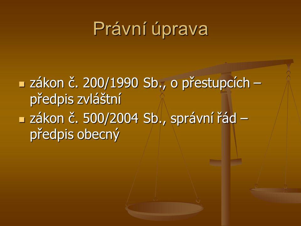 Právní úprava zákon č. 200/1990 Sb., o přestupcích – předpis zvláštní zákon č. 200/1990 Sb., o přestupcích – předpis zvláštní zákon č. 500/2004 Sb., s