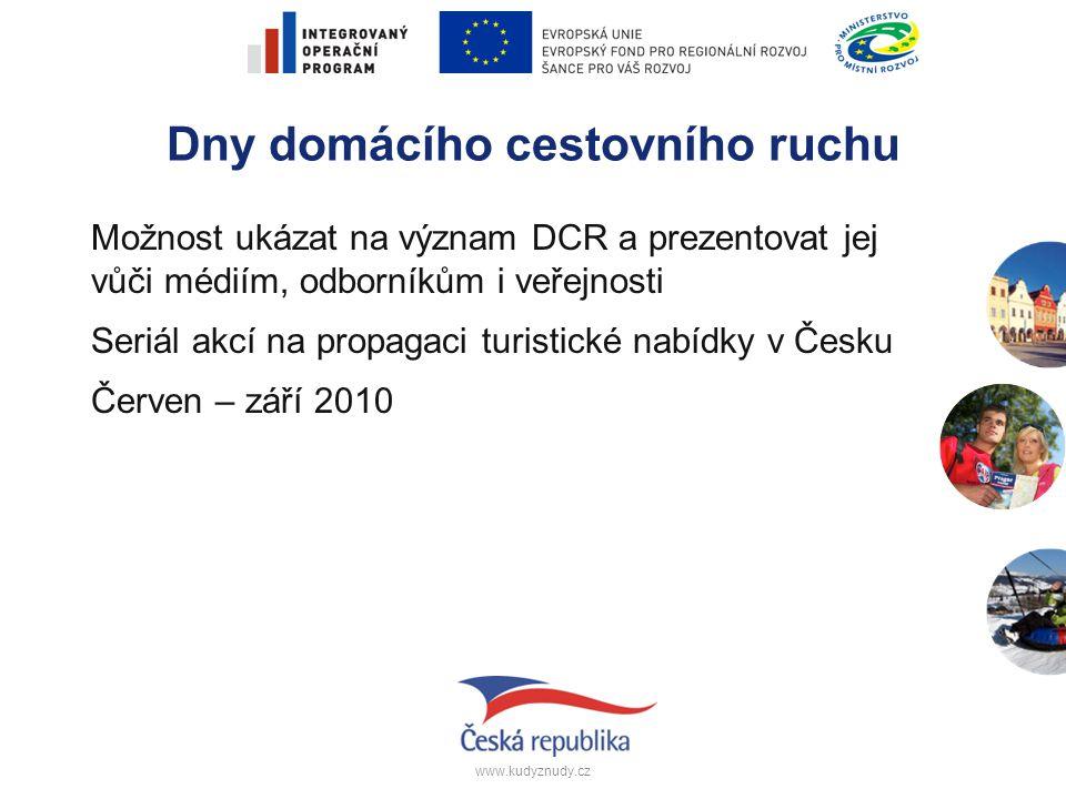 www.kudyznudy.cz Dny domácího cestovního ruchu Možnost ukázat na význam DCR a prezentovat jej vůči médiím, odborníkům i veřejnosti Seriál akcí na prop