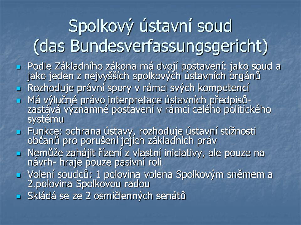 Spolkový ústavní soud (das Bundesverfassungsgericht) Podle Základního zákona má dvojí postavení: jako soud a jako jeden z nejvyšších spolkových ústavn