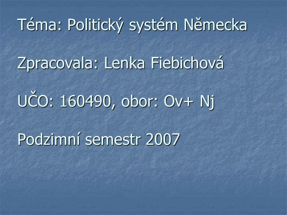 Prezentace do Mezinárodních vztahů Téma: Politický systém Německa Zpracovala: Lenka Fiebichová UČO: 160490, obor: Ov+ Nj Podzimní semestr 2007