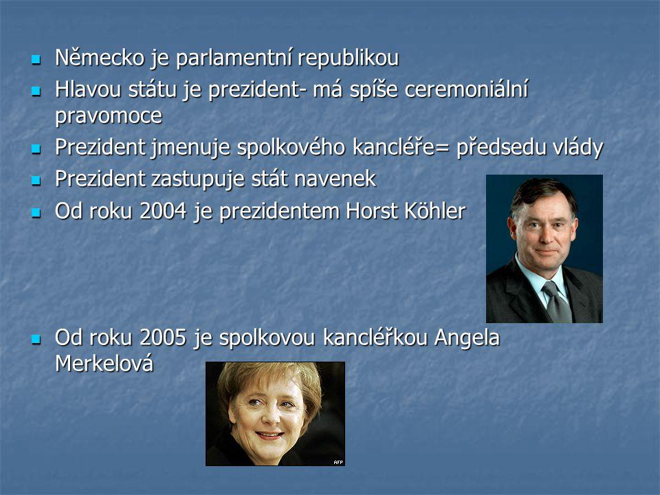 Německo je parlamentní republikou Německo je parlamentní republikou Hlavou státu je prezident- má spíše ceremoniální pravomoce Hlavou státu je prezide