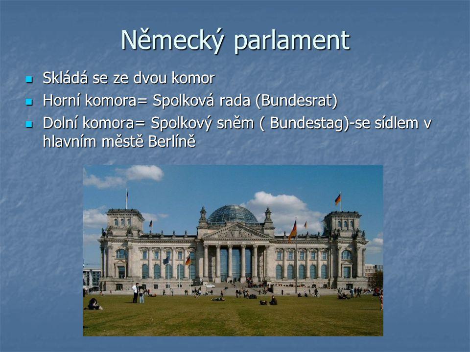 Německý parlament Skládá se ze dvou komor Skládá se ze dvou komor Horní komora= Spolková rada (Bundesrat) Horní komora= Spolková rada (Bundesrat) Doln