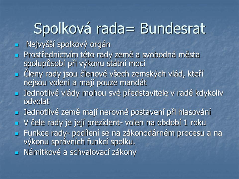 Spolková rada= Bundesrat Nejvyšší spolkový orgán Nejvyšší spolkový orgán Prostřednictvím této rady země a svobodná města spolupůsobí při výkonu státní