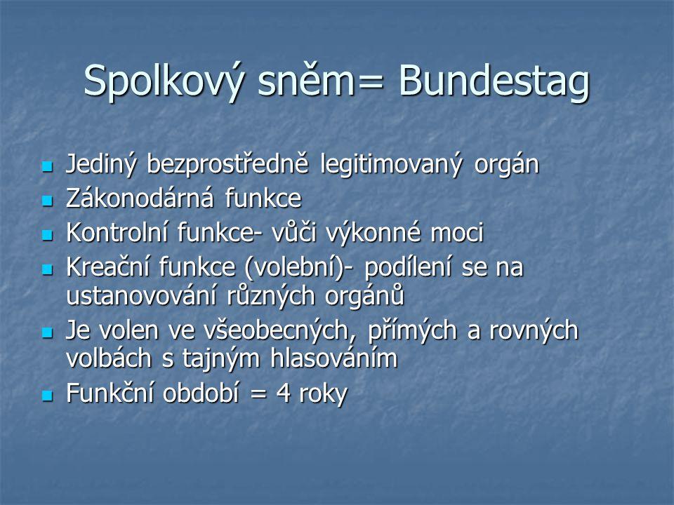 Spolkový sněm= Bundestag Jediný bezprostředně legitimovaný orgán Jediný bezprostředně legitimovaný orgán Zákonodárná funkce Zákonodárná funkce Kontrol