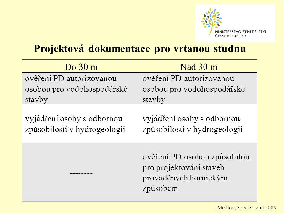 Projektová dokumentace pro vrtanou studnu Do 30 mNad 30 m ověření PD autorizovanou osobou pro vodohospodářské stavby vyjádření osoby s odbornou způsobilostí v hydrogeologii -------- ověření PD osobou způsobilou pro projektování staveb prováděných hornickým způsobem Medlov, 3.-5.