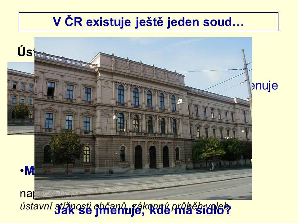 V ČR existuje ještě jeden soud… Ústavní soud Brno dohlíží na dodržování ústavnosti např. rušení zákonů, které jsou v rozporu s ústavou, ústavní stížno