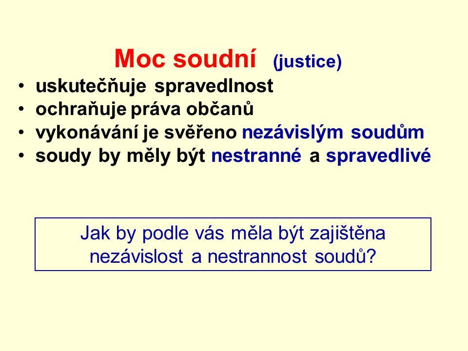 Moc soudní (justice) uskutečňuje spravedlnost ochraňuje práva občanů vykonávání je svěřeno nezávislým soudům soudy by měly být nestranné a spravedlivé