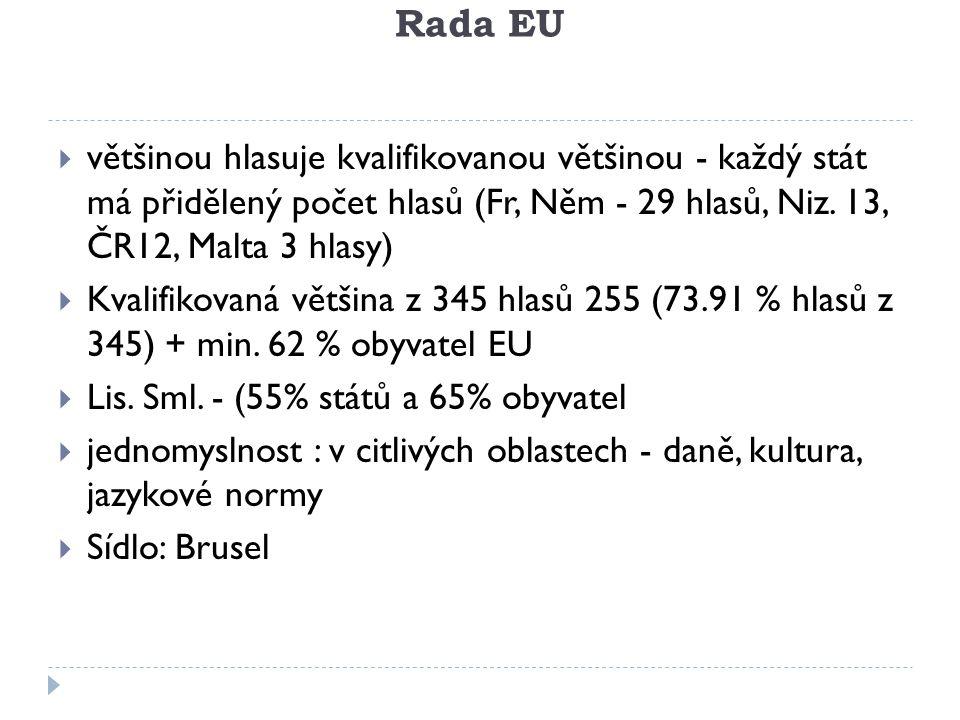 Rada EU  většinou hlasuje kvalifikovanou většinou - každý stát má přidělený počet hlasů (Fr, Něm - 29 hlasů, Niz. 13, ČR12, Malta 3 hlasy)  Kvalifik