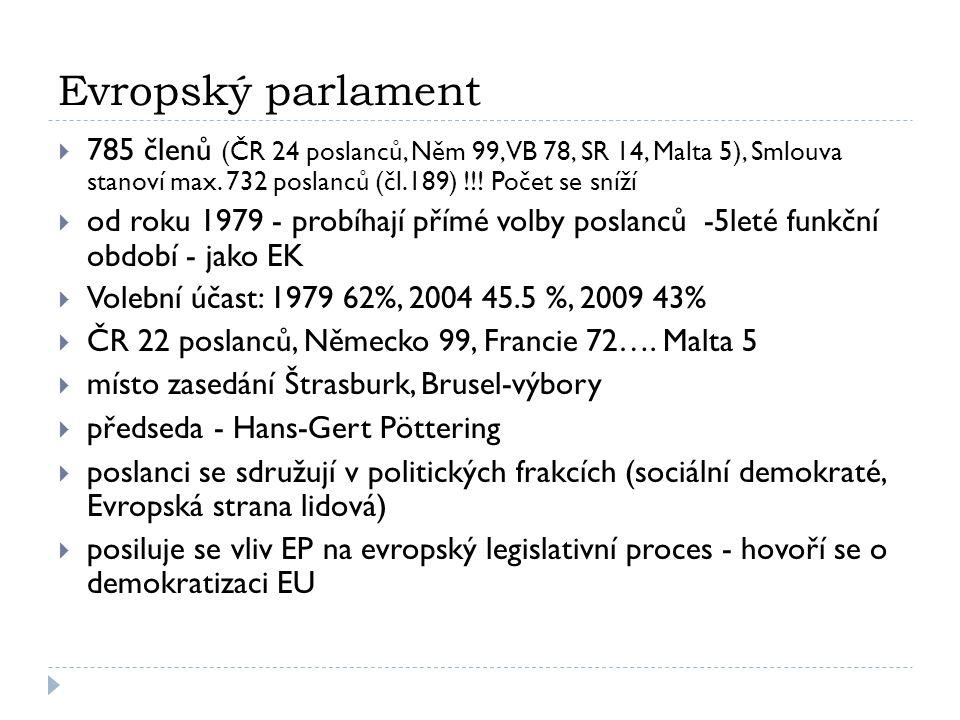 Evropský parlament  785 členů (ČR 24 poslanců, Něm 99, VB 78, SR 14, Malta 5), Smlouva stanoví max. 732 poslanců (čl.189) !!! Počet se sníží  od rok