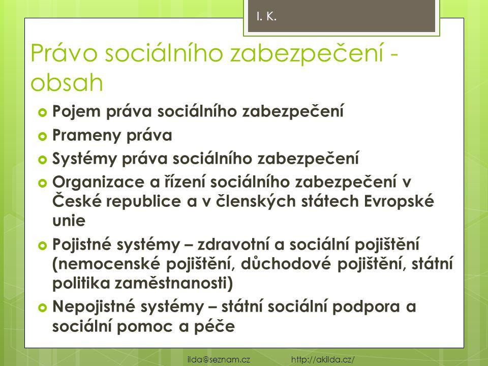 Právo sociálního zabezpečení - obsah  Pojem práva sociálního zabezpečení  Prameny práva  Systémy práva sociálního zabezpečení  Organizace a řízení