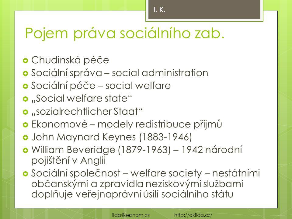 """Pojem práva sociálního zab.  Chudinská péče  Sociální správa – social administration  Sociální péče – social welfare  """"Social welfare state""""  """"so"""