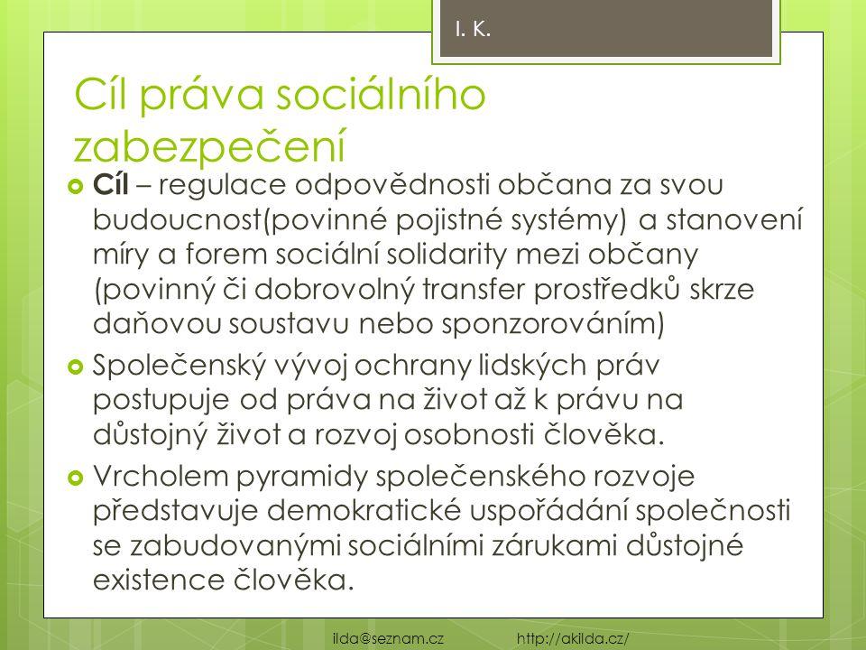 Cíl práva sociálního zabezpečení  Cíl – regulace odpovědnosti občana za svou budoucnost(povinné pojistné systémy) a stanovení míry a forem sociální s