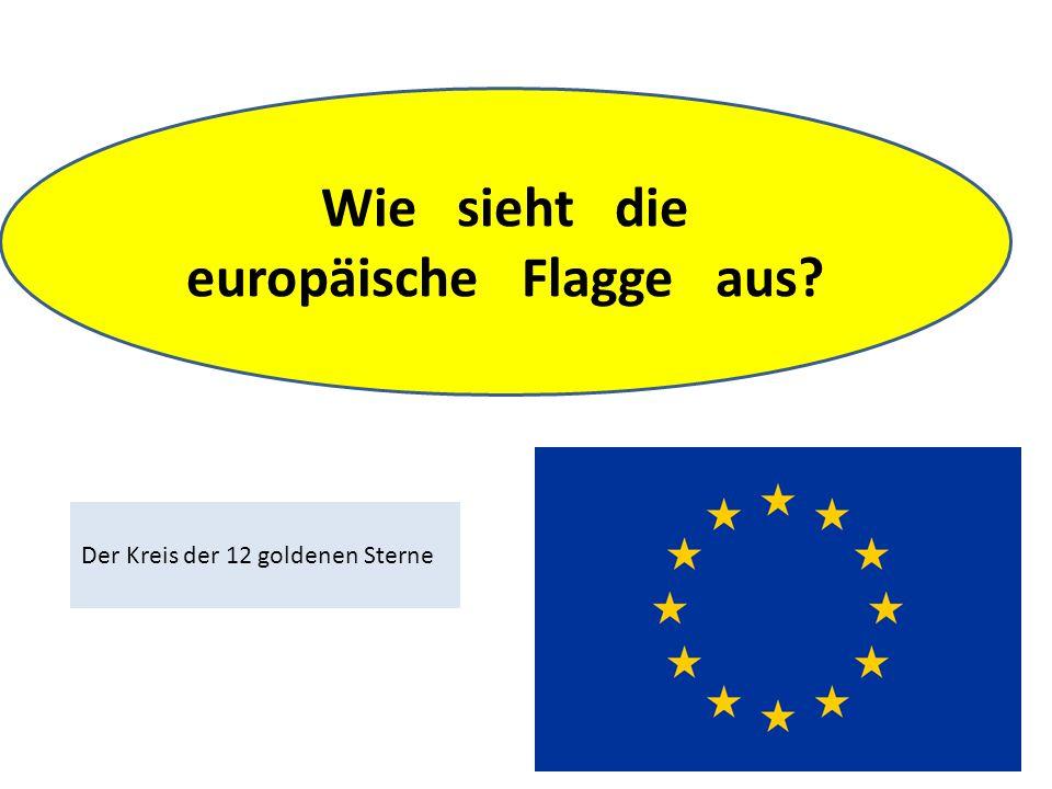Wie sieht die europäische Flagge aus Der Kreis der 12 goldenen Sterne