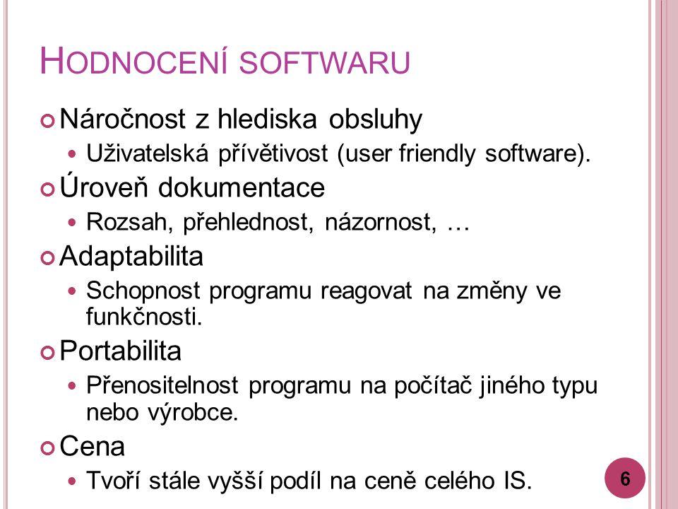 H ODNOCENÍ SOFTWARU Náročnost z hlediska obsluhy Uživatelská přívětivost (user friendly software).