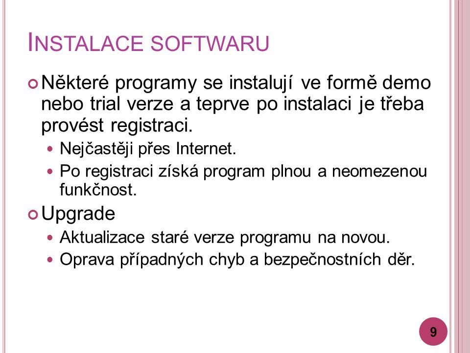 I NSTALACE SOFTWARU Některé programy se instalují ve formě demo nebo trial verze a teprve po instalaci je třeba provést registraci.