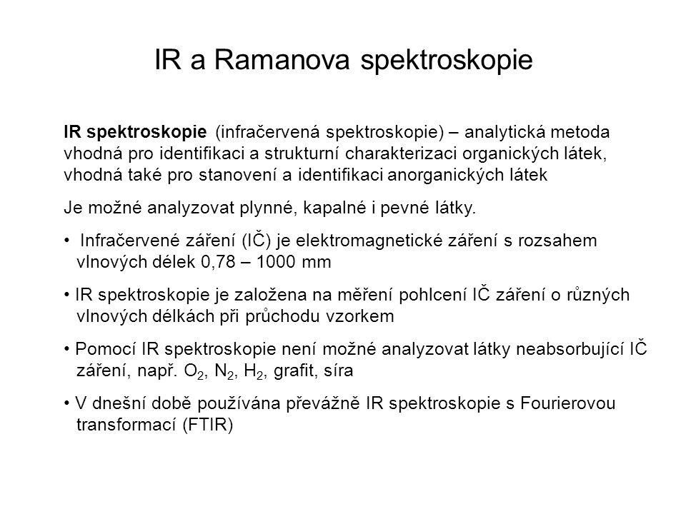 IR a Ramanova spektroskopie IR spektroskopie (infračervená spektroskopie) – analytická metoda vhodná pro identifikaci a strukturní charakterizaci orga