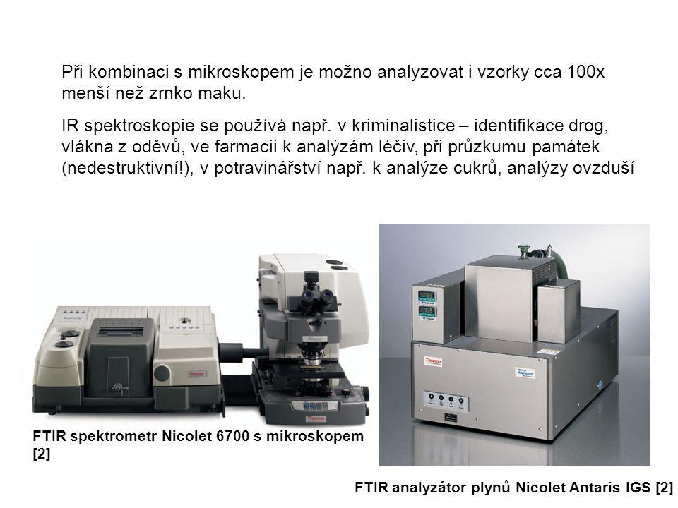 Při kombinaci s mikroskopem je možno analyzovat i vzorky cca 100x menší než zrnko maku. IR spektroskopie se používá např. v kriminalistice – identifik
