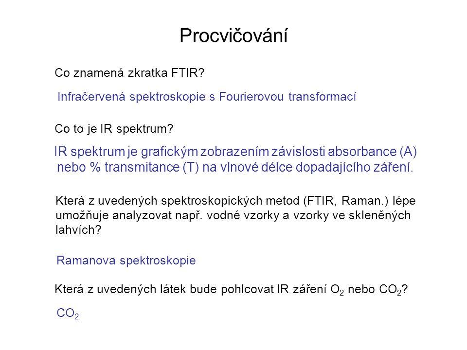 Procvičování Co znamená zkratka FTIR? Co to je IR spektrum? Infračervená spektroskopie s Fourierovou transformací IR spektrum je grafickým zobrazením