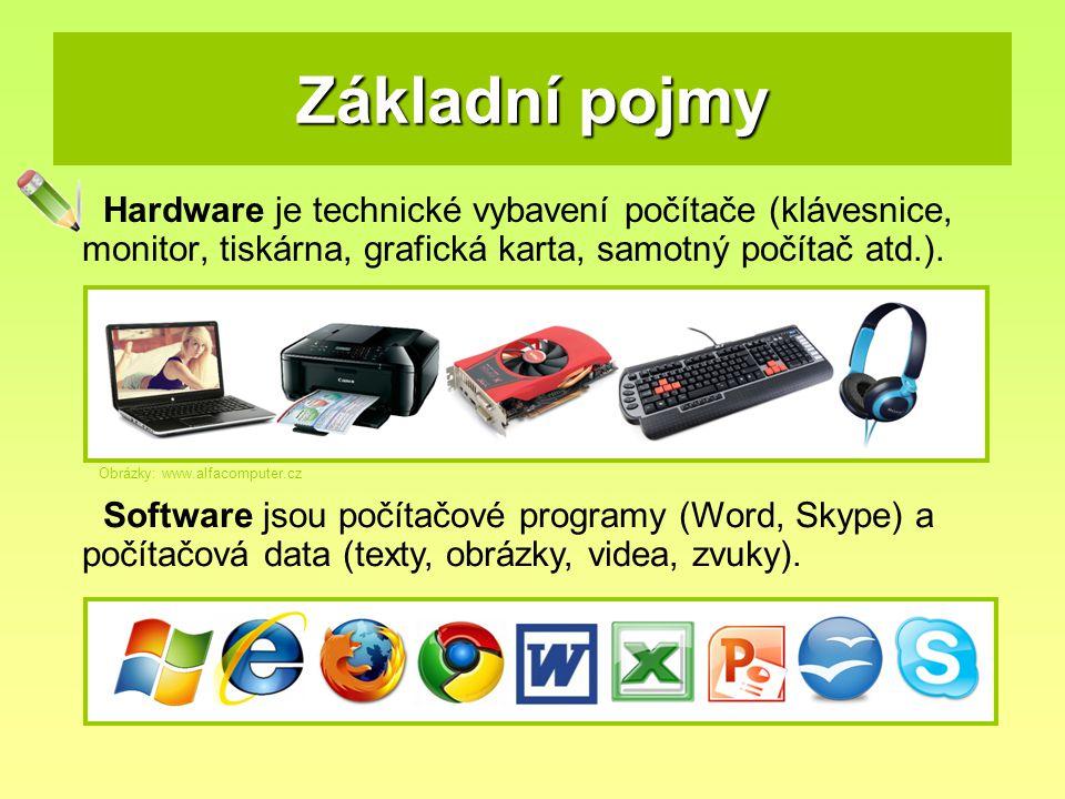 Základní pojmy Hardware je technické vybavení počítače (klávesnice, monitor, tiskárna, grafická karta, samotný počítač atd.). Software jsou počítačové