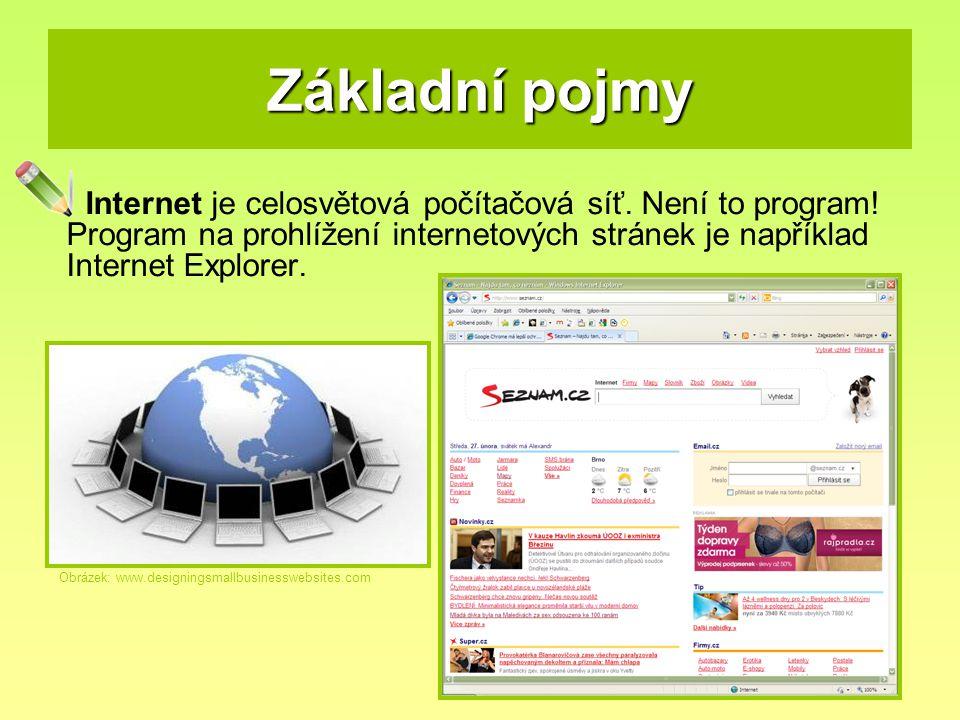 Základní pojmy Internet je celosvětová počítačová síť. Není to program! Program na prohlížení internetových stránek je například Internet Explorer. Ob