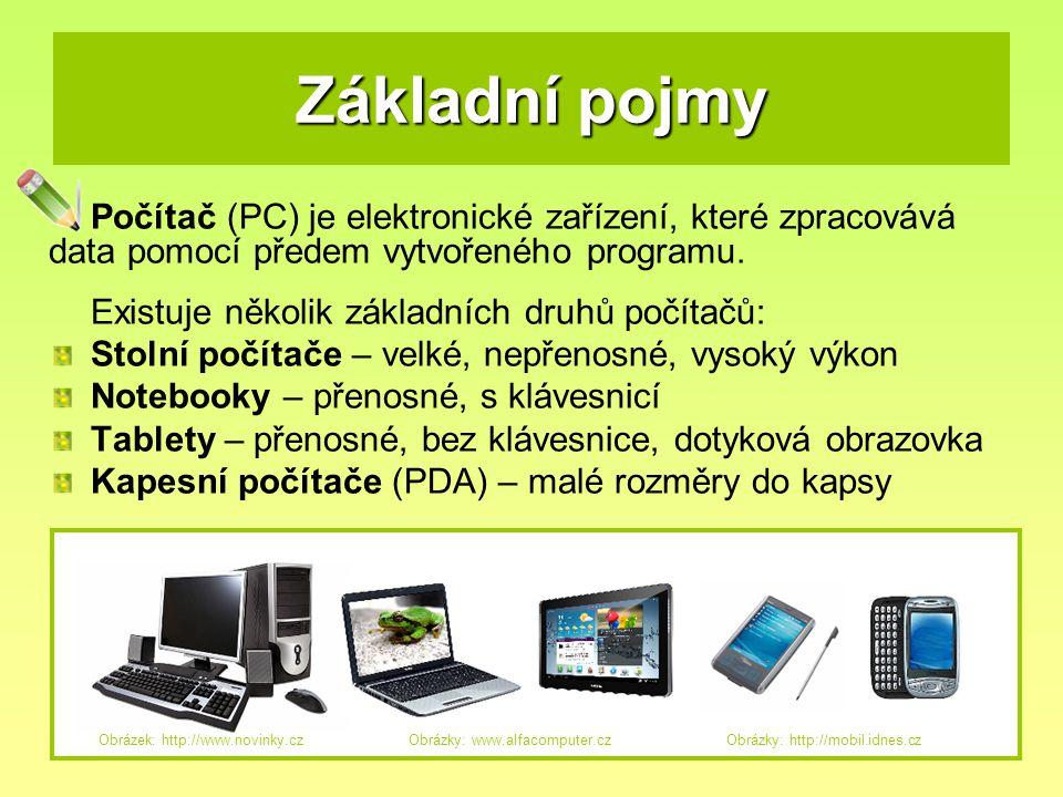 Základní pojmy Počítač (PC) je elektronické zařízení, které zpracovává data pomocí předem vytvořeného programu. Existuje několik základních druhů počí