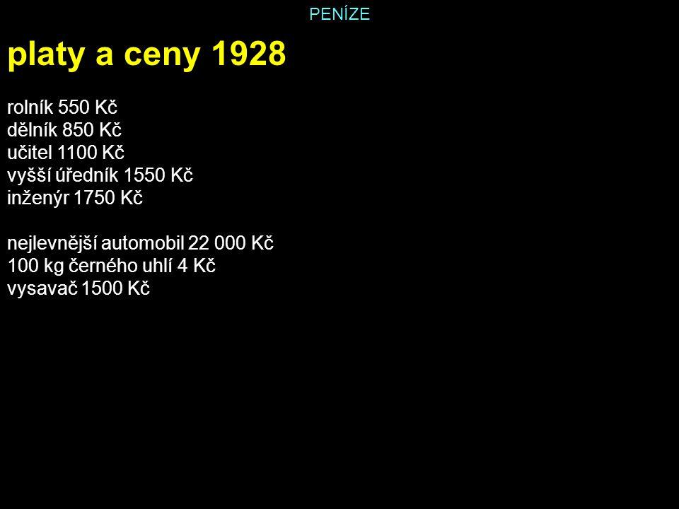 PENÍZE platy a ceny 1928 rolník 550 Kč dělník 850 Kč učitel 1100 Kč vyšší úředník 1550 Kč inženýr 1750 Kč nejlevnější automobil 22 000 Kč 100 kg černé