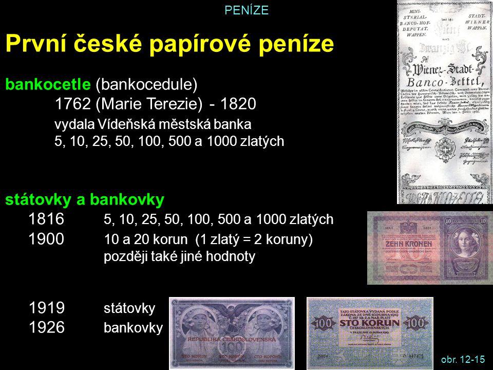 PENÍZE První české papírové peníze bankocetle (bankocedule) 1762 (Marie Terezie) - 1820 vydala Vídeňská městská banka 5, 10, 25, 50, 100, 500 a 1000 z