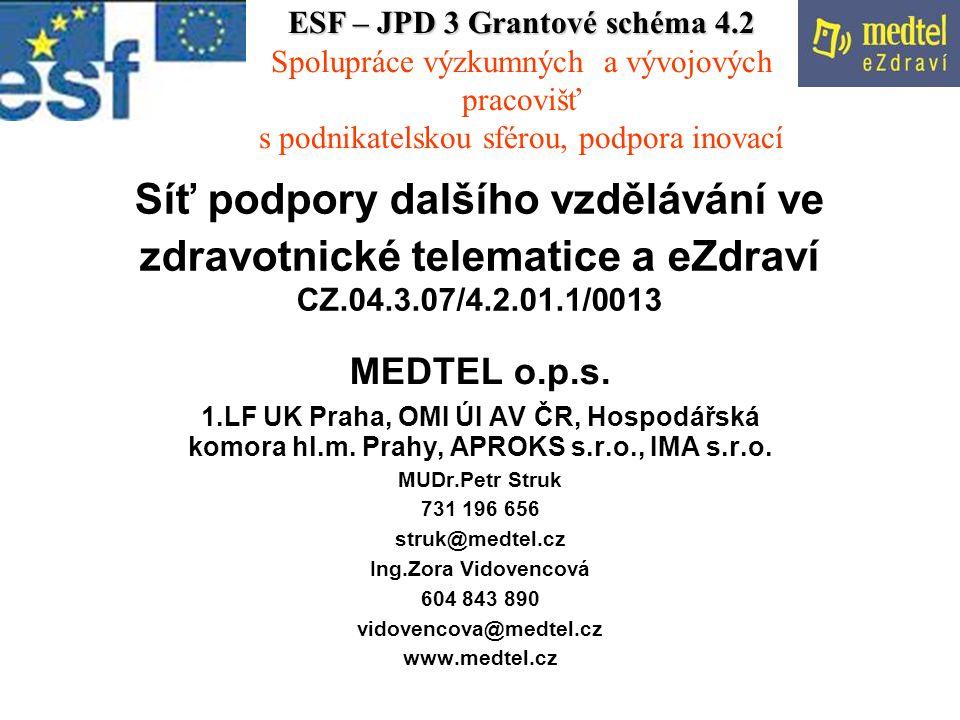 Síť podpory dalšího vzdělávání ve zdravotnické telematice a eZdraví CZ.04.3.07/4.2.01.1/0013 MEDTEL o.p.s.