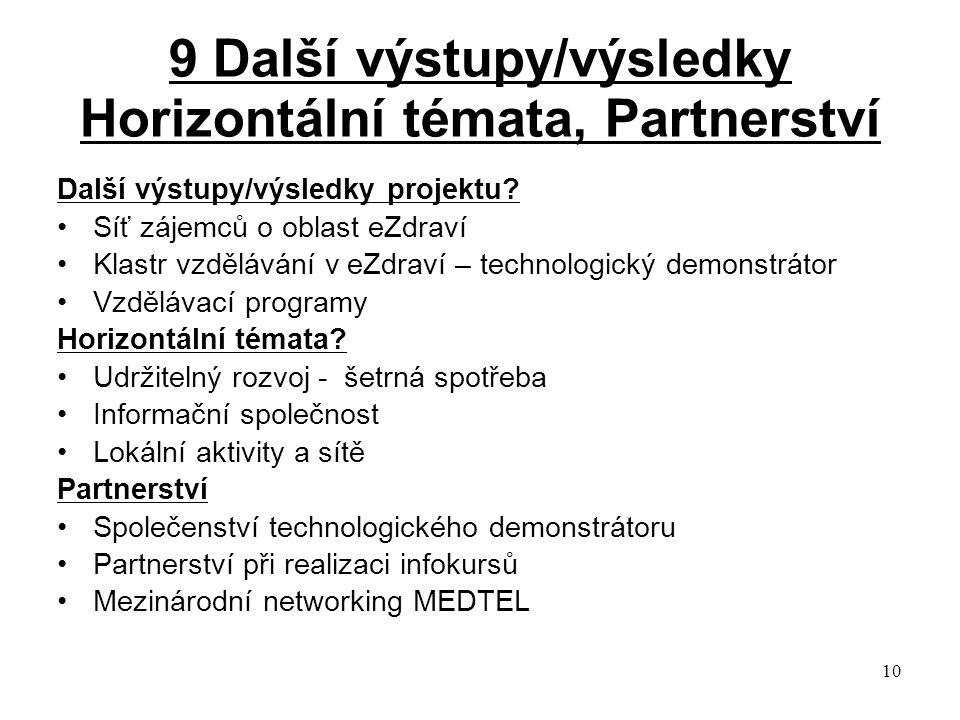 10 9 Další výstupy/výsledky Horizontální témata, Partnerství Další výstupy/výsledky projektu.