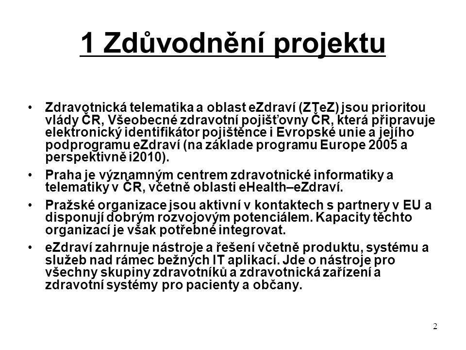 2 1 Zdůvodnění projektu Zdravotnická telematika a oblast eZdraví (ZTeZ) jsou prioritou vlády ČR, Všeobecné zdravotní pojišťovny ČR, která připravuje elektronický identifikátor pojištěnce i Evropské unie a jejího podprogramu eZdraví (na základe programu Europe 2005 a perspektivně i2010).