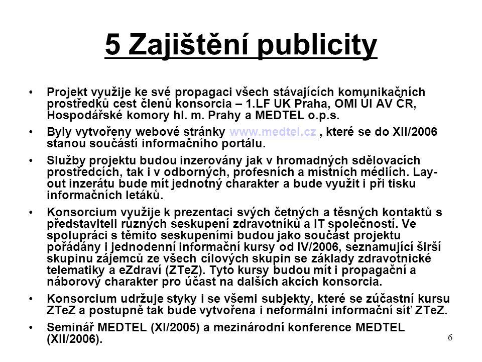 6 5 Zajištění publicity Projekt využije ke své propagaci všech stávajících komunikačních prostředků cest členů konsorcia – 1.LF UK Praha, OMI ÚI AV ČR, Hospodářské komory hl.