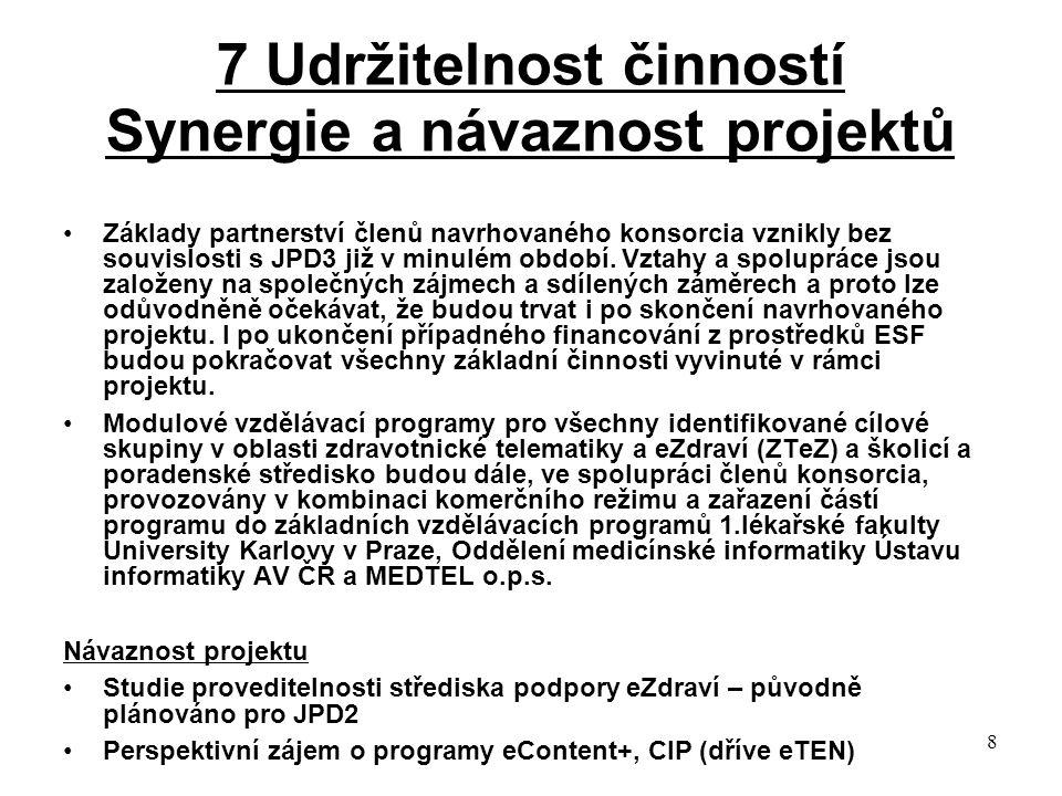 8 7 Udržitelnost činností Synergie a návaznost projektů Základy partnerství členů navrhovaného konsorcia vznikly bez souvislosti s JPD3 již v minulém období.