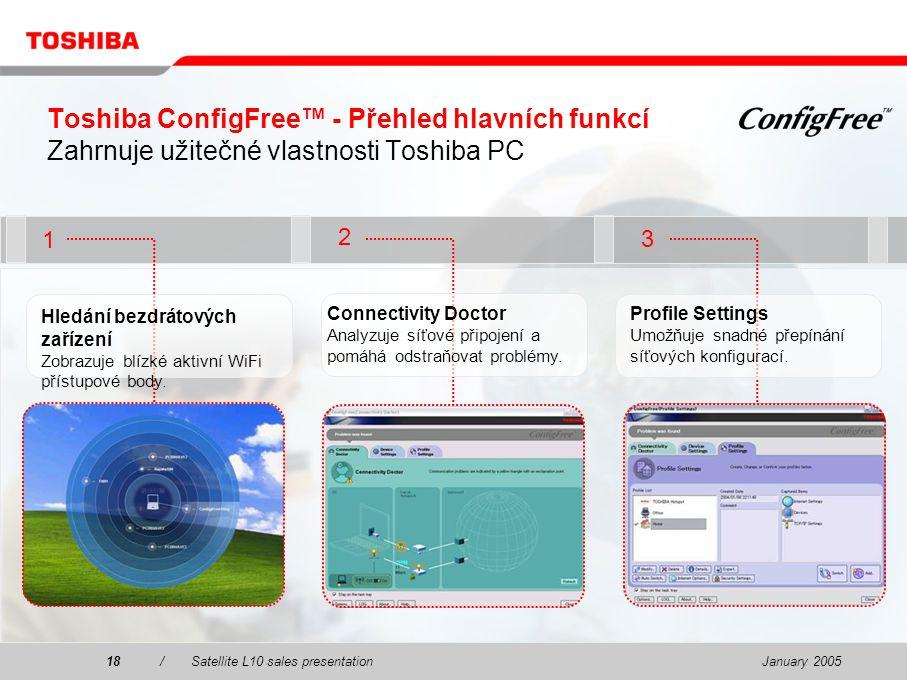 January 200518/Satellite L10 sales presentation18 2 1 Toshiba ConfigFree™ - Přehled hlavních funkcí Zahrnuje užitečné vlastnosti Toshiba PC 3 Hledání bezdrátových zařízení Zobrazuje blízké aktivní WiFi přístupové body.