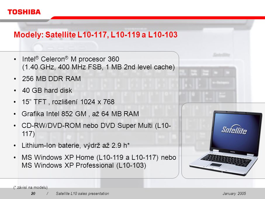 January 200520/Satellite L10 sales presentation20 Modely: Satellite L10-117, L10-119 a L10-103 Intel ® Celeron ® M procesor 360 (1.40 GHz, 400 MHz FSB