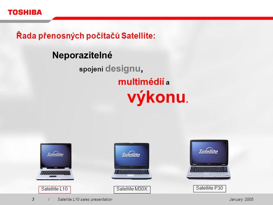 January 20053/Satellite L10 sales presentation3 Řada přenosných počítačů Satellite: Neporazitelné spojení designu, multimédií a výkonu.