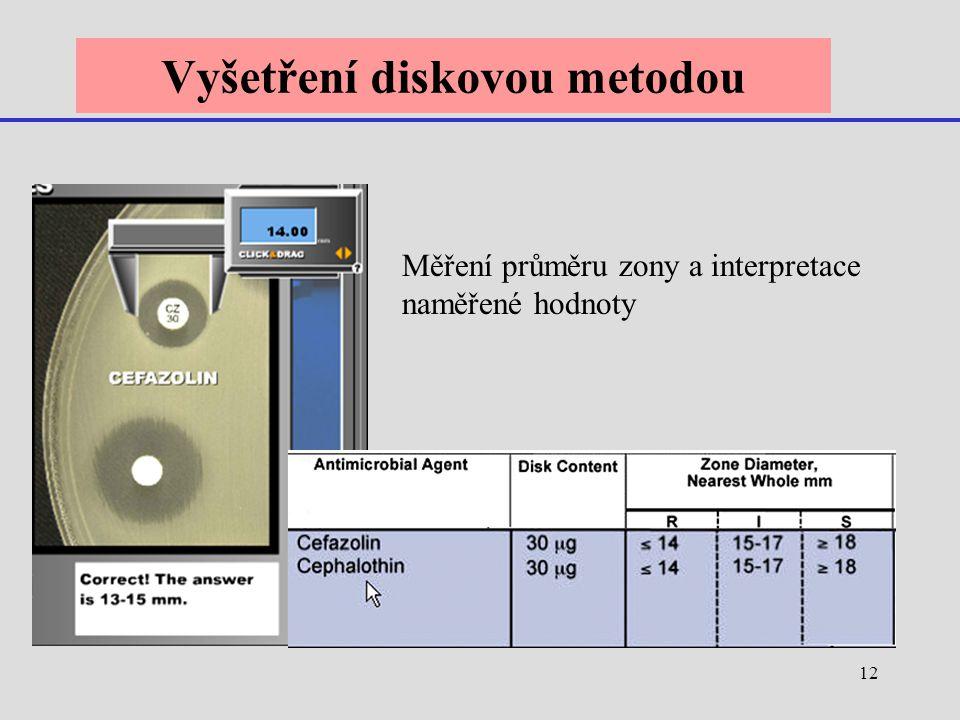 12 Vyšetření diskovou metodou Měření průměru zony a interpretace naměřené hodnoty