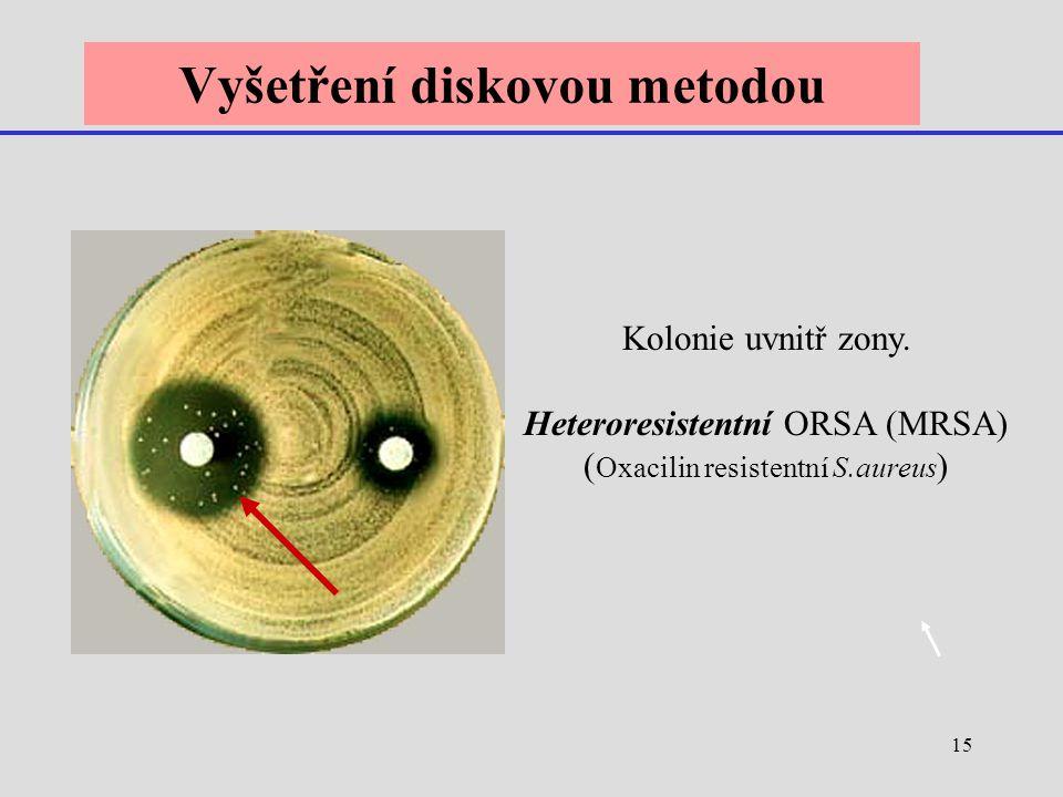 15 Vyšetření diskovou metodou Kolonie uvnitř zony. Heteroresistentní ORSA (MRSA) ( Oxacilin resistentní S.aureus )