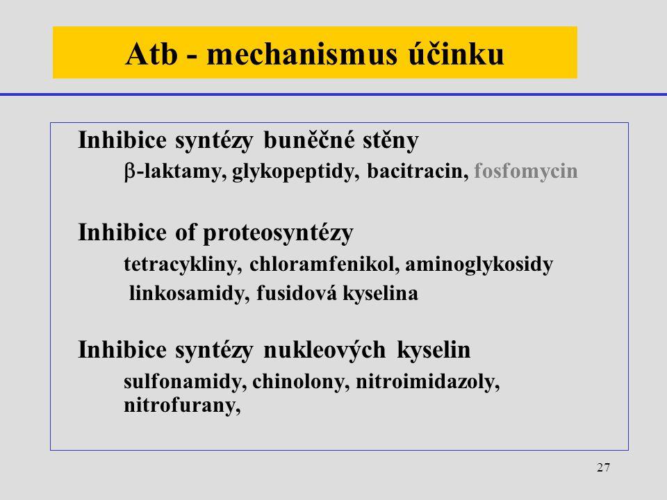 27 Atb - mechanismus účinku Inhibice syntézy buněčné stěny  -laktamy, glykopeptidy, bacitracin, fosfomycin Inhibice of proteosyntézy tetracykliny, ch