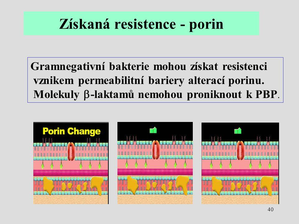 40 Gramnegativní bakterie mohou získat resistenci vznikem permeabilitní bariery alterací porinu. Molekuly  -laktamů nemohou proniknout k PBP. Získaná