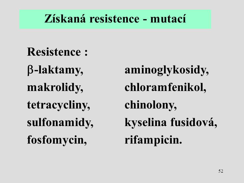 52 Získaná resistence - mutací Resistence :  -laktamy,aminoglykosidy, makrolidy,chloramfenikol, tetracycliny,chinolony, sulfonamidy,kyselina fusidová