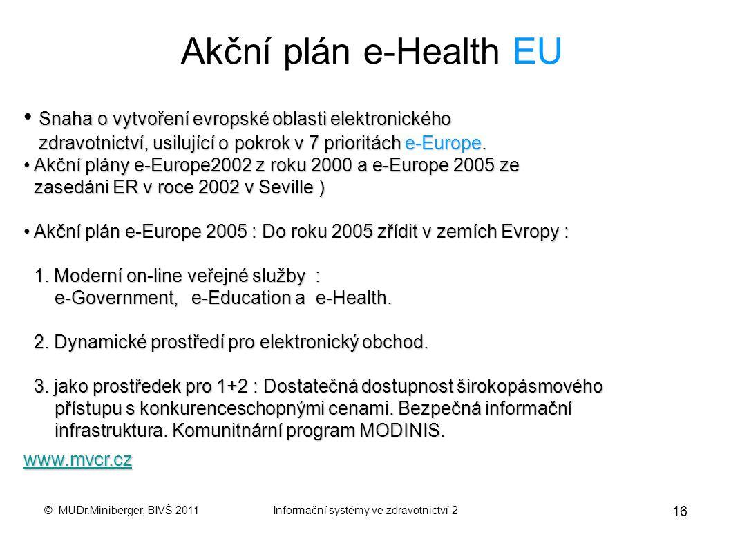 © MUDr.Miniberger, BIVŠ 2011Informační systémy ve zdravotnictví 2 15 eGON – elektronizace VS Mozek : Z á kladn í registry VS Srdce : Z á kon o e-gover