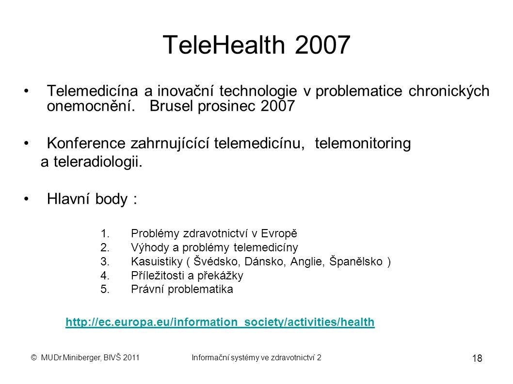 © MUDr.Miniberger, BIVŠ 2011Informační systémy ve zdravotnictví 2 17 e-Health, e-Europe 2005 Elektronické zdravotnictví (eHealth) je souhrnný název pr