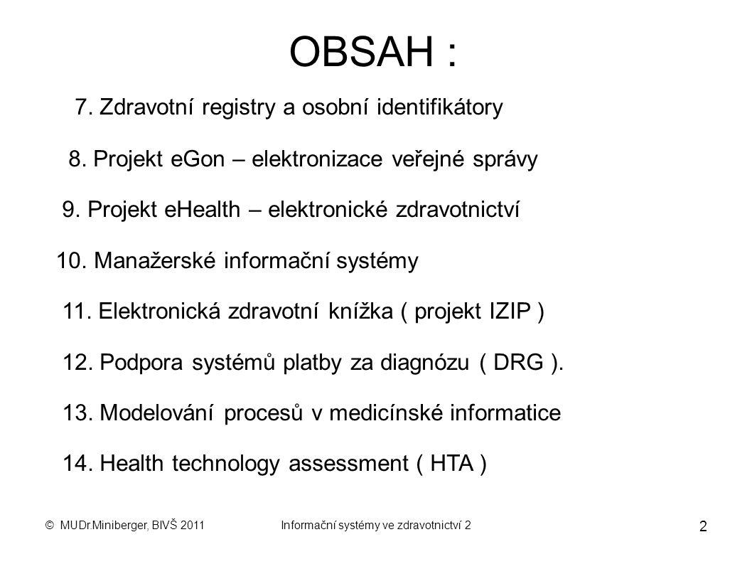 © MUDr.Miniberger, BIVŠ 2011Informační systémy ve zdravotnictví 2 1 BANKOVNÍ INSTITUT VŠ Katedra: Ekonomika a management zdravotních a sociálních služ