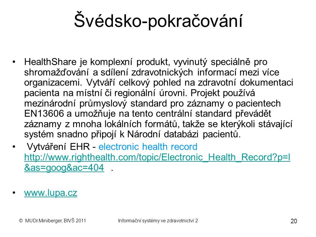 © MUDr.Miniberger, BIVŠ 2011Informační systémy ve zdravotnictví 2 19 Příklady zemí EU - Švédsko Národní databáze pacientů ( NPÖ, nationell patientöver