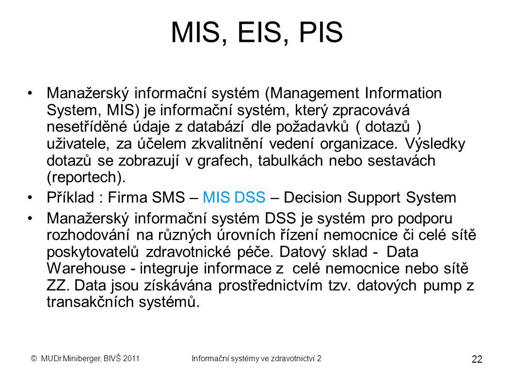 © MUDr.Miniberger, BIVŠ 2011Informační systémy ve zdravotnictví 2 21 Projekt eHealth v České republice 1. Elektronická zdravotní dokumentace. 2. Elekt