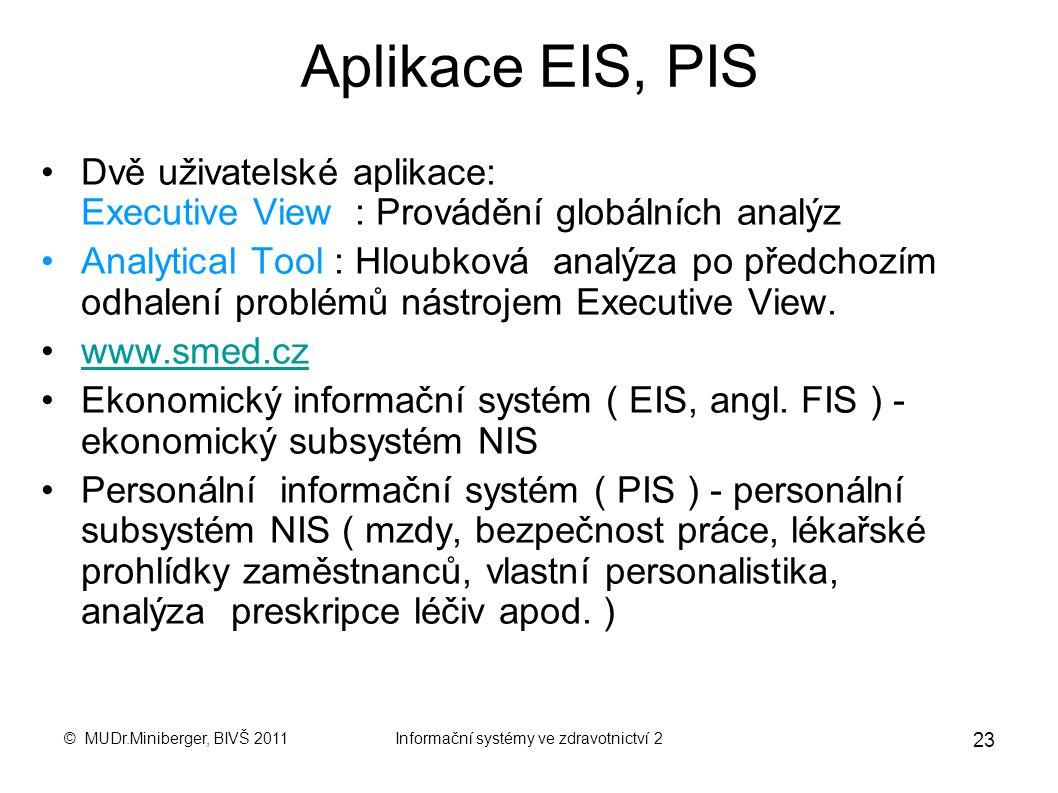 © MUDr.Miniberger, BIVŠ 2011Informační systémy ve zdravotnictví 2 22 MIS, EIS, PIS Manažerský informační systém (Management Information System, MIS) j