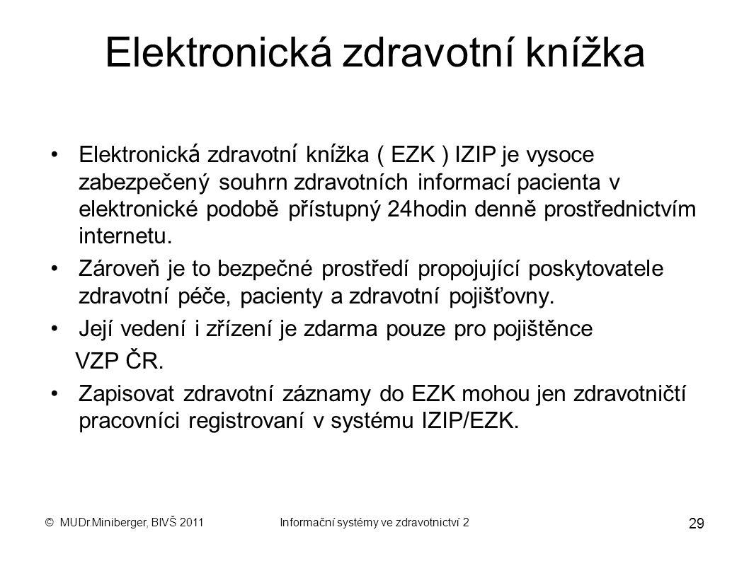 © MUDr.Miniberger, BIVŠ 2011Informační systémy ve zdravotnictví 2 28 ROI pro zavedení MIS Dosažené úspory + Zvýšení výnosů Celkové náklady na tvorbu a